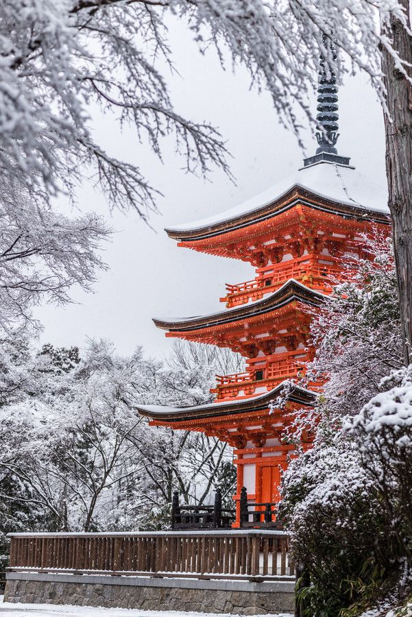 Snow in three-story pagoda of Kiyomizu-dera, Kyoto, Japan