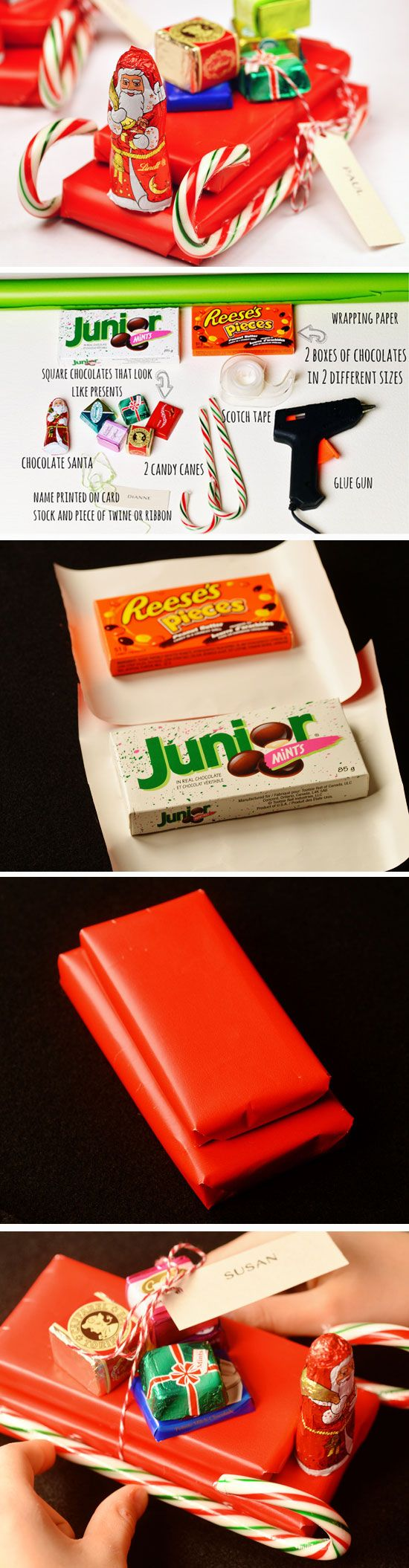 Candy Sleighs | 20 + DIY Christmas Gifts for Teachers From Kids More