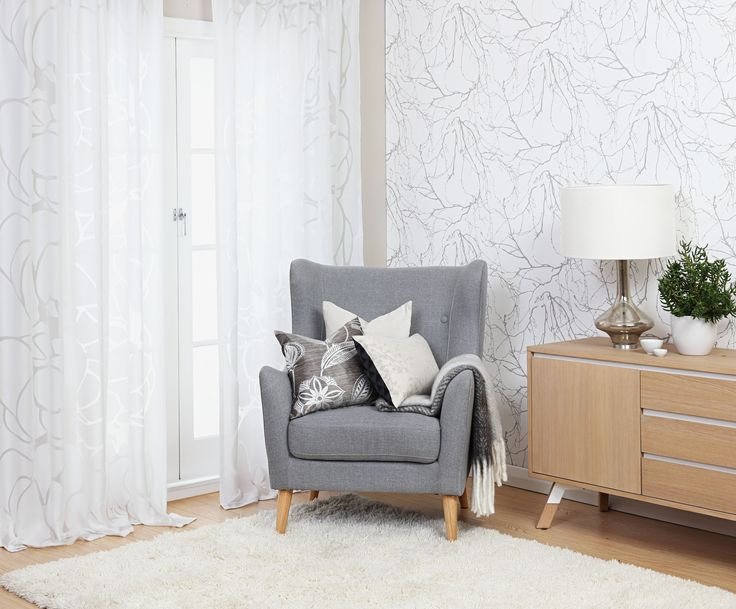Create the perfect boudoir corner with Vallila Makeba Fancy sheer ready-made curtains and Oskat Scandinavian style wallpaper. Exclusive in NZ to Harvey Furnishings.