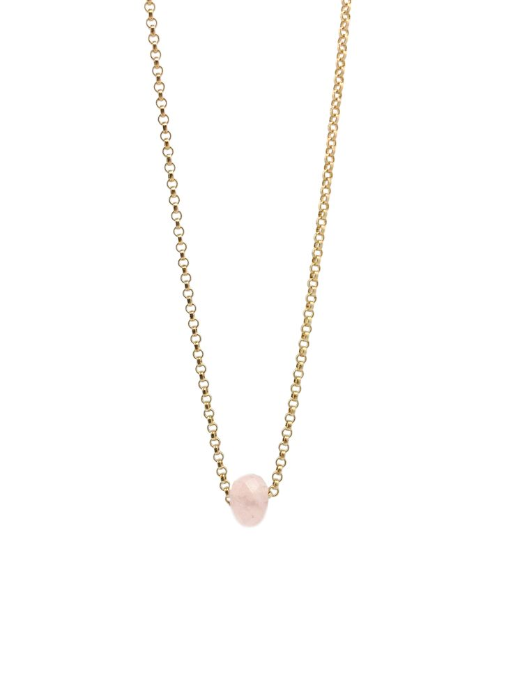Rose Quartz Roundel Gemstone Bead on a Gold Filled Rolo Chain. Simple and fun. #Gempacked