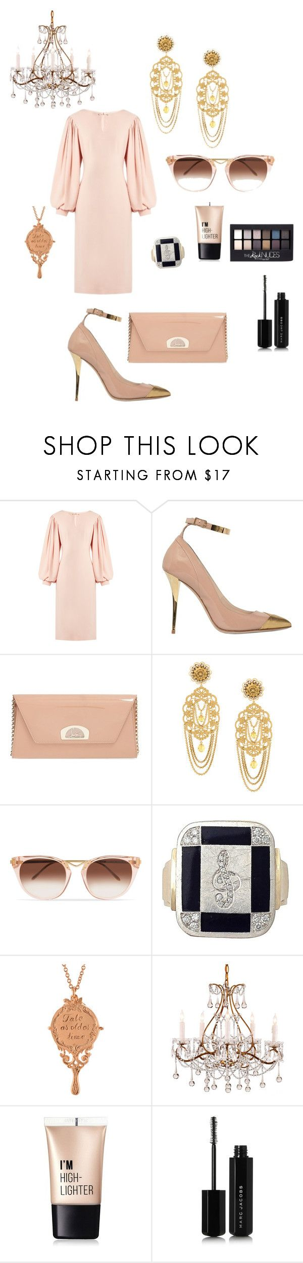 """""""Tale as old as Time"""" by giulia-ostara-re ❤ liked on Polyvore featuring Osman, Balmain, Christian Louboutin, Dolce&Gabbana, Thierry Lasry, Alex Monroe, Charlotte Russe, Maybelline and Marc Jacobs"""