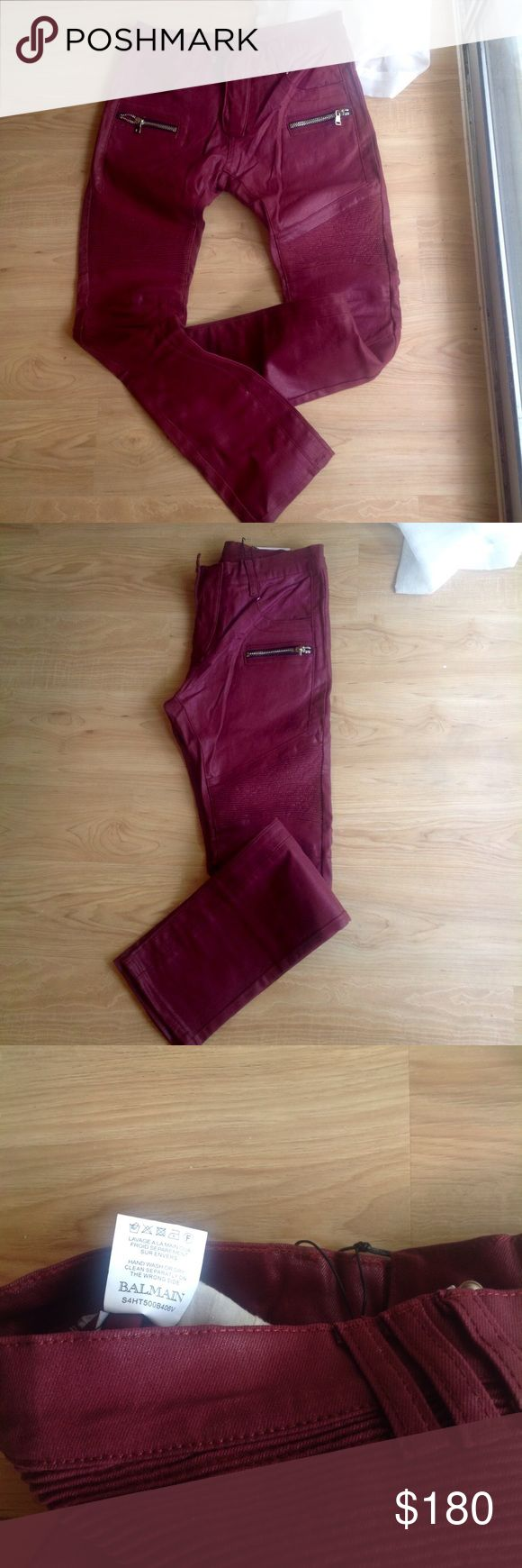 Balmain Jean Size men 32 skinny waxed stretch jeans burgundy color Balmain Jeans Skinny