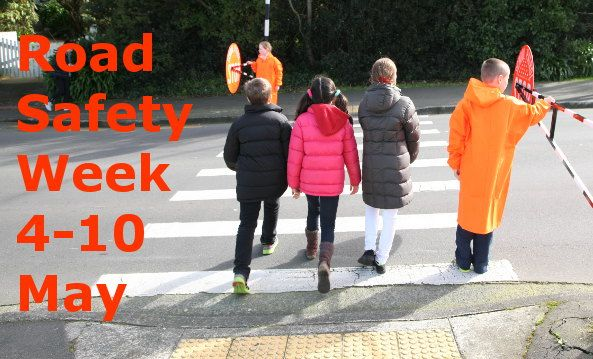 Road Safety Week May 4-10 2015. Road Safety Week runs May 4-10, 2015 and is supported by the United Nations. New Zealand schools and communities are getting support from Brake, the road safety charity. Its theme is Look out for kids.