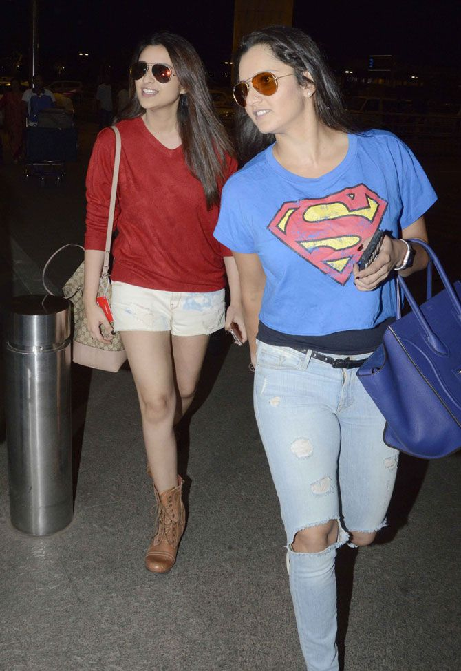 Parineeti Chopra was accompanied by Indian tennis ace Sania Mirza