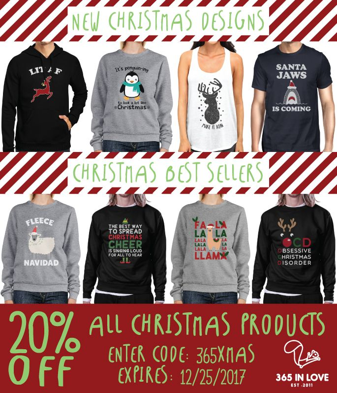 Shop LIT Christmas gifts for your family and friends! For this Christmas, we are offering 20% OFF ALL CHRISTMAS PRODUCTS + FREE SHIPPING! Visit us at www.365inlove.com to shop for your gifts and enter the code 365XMAS at checkout! Merry early Christmas from 365 In Love💞  #365inlove #graphicdesign #apparel #accesories #christmas #merrychristmas #winter #december #sale #freeshipping #reindeer #santa #snow #clothes #shopping #onlineshopping #fashion #jinglebells #sweater #feliznavidad #lit #af