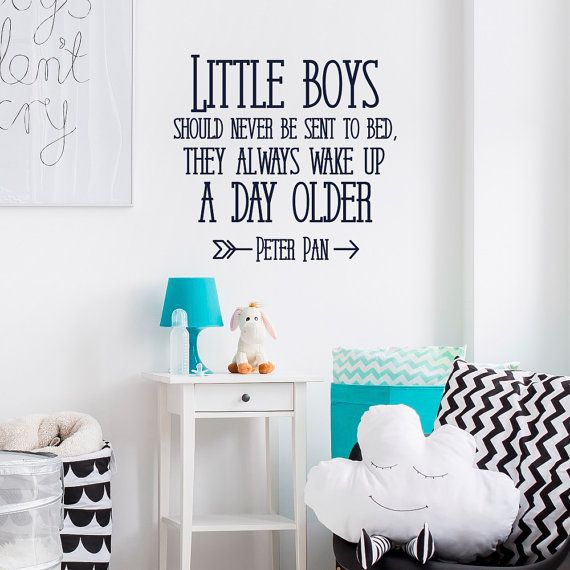 Nursery Wall Decal Quote Little Boys Should Never Be Sent To Bed Peter Pan Room Decor Art Kids Q299