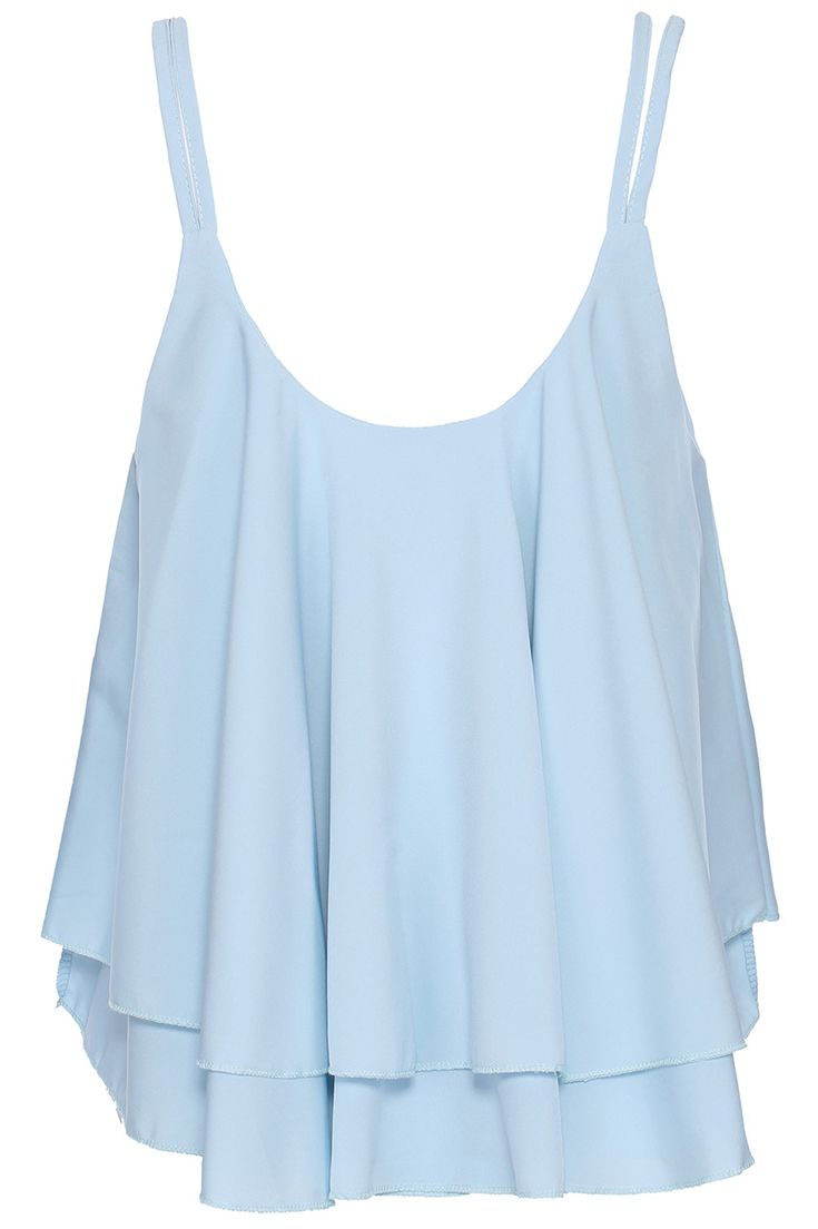 light blue cami, cute and flowy. Perfect for summer! Would look great with white pants and sandals and silver accessories!