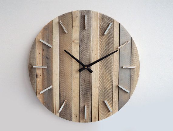 236 inch rustic wall clock large wall clock weathered wood clock home decor reclaimed wood decor