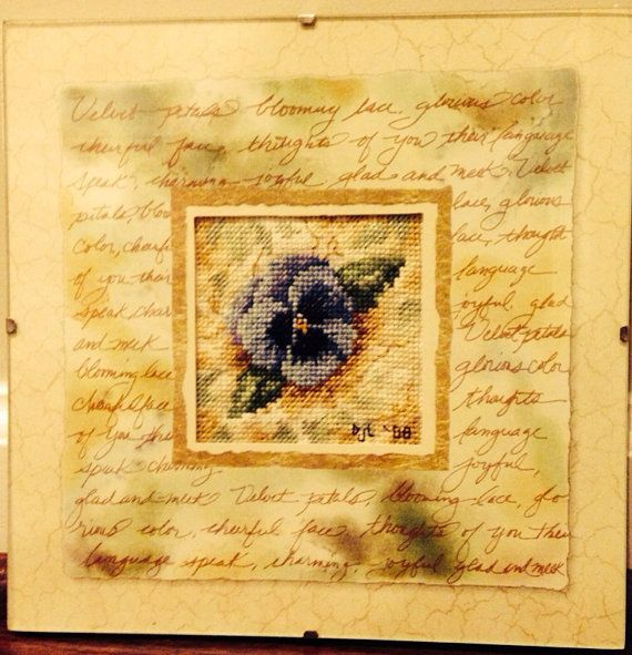 Completed Cross Stitch in Glass Velvet Pansy by dannileifer, $24.99