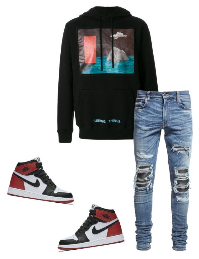 """""""Untitled #623"""" by aintdatjulian on Polyvore featuring Off-White, AMIRI, NIKE, men's fashion and menswear"""