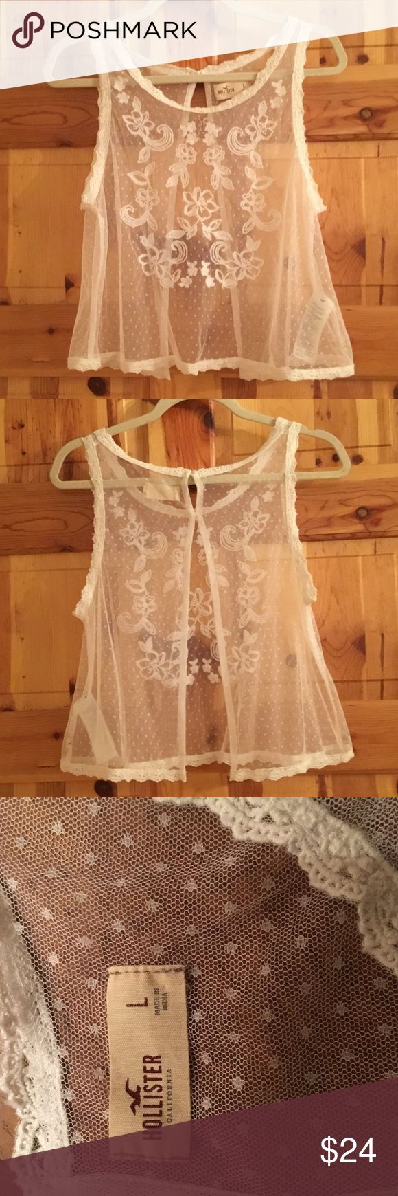 NWOT HOLLISTER BOHO BRALETTE TOP NWOT HOLLISTER BOHO TOP. Perfect layering top. Wear with a pretty bralette or over your bikini top! Gorgeous spring and summer piece. BRAND NEW NEVER WORN.  From my clean non smoking home. Check out my other items as I am cleaning out closets and listing a lot of good stuff! I do bundle...thanks for looking!😊 Hollister Tops