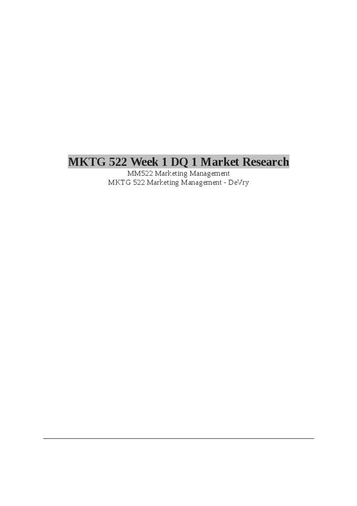 MKTG 522 (Marketing Management) Final Exam