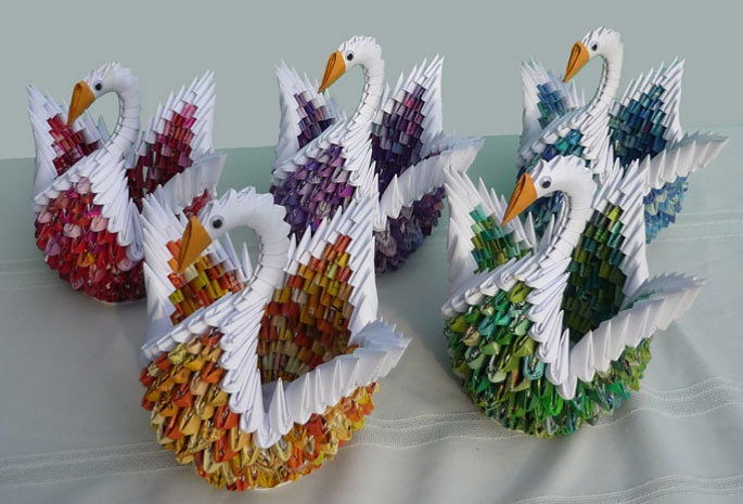 Some swans my 13-year-old daughter made. A bird made by her makes a great gift.