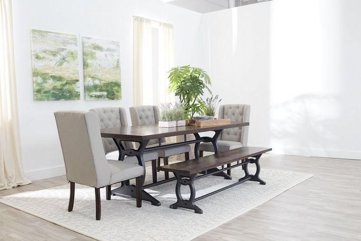 Includes: Table, 4 side chairs and dining bench