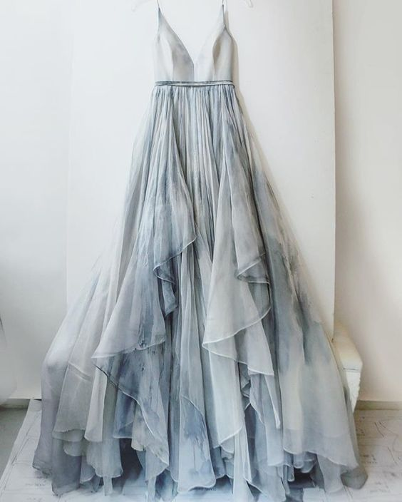2017 Custom Made Silver Grey Prom Dress, Spaghetti Straps Evening Dress,Chiffon Party Gown,V-Neck Pegeant Dress, High Quality