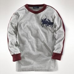 Ralph Lauren Custom-Fit de manga larga partido de polo en color Gris
