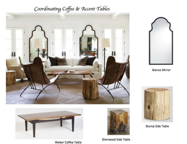"""How to Coordinate Coffee and Accent Tables like a Designer(Maria Killam). This room is also a great example of """"Fresh""""."""