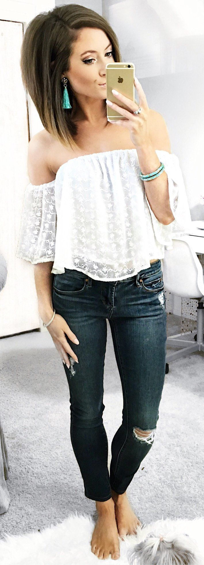White Off Shoulder Dotted Blouse / Ripped Denim