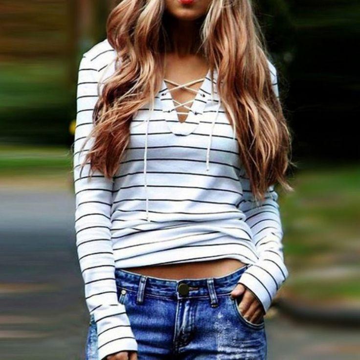 Women T-shirts Summer Style Sexy Tops Striped Long Sleeve Female T shirt Feminino camisetas