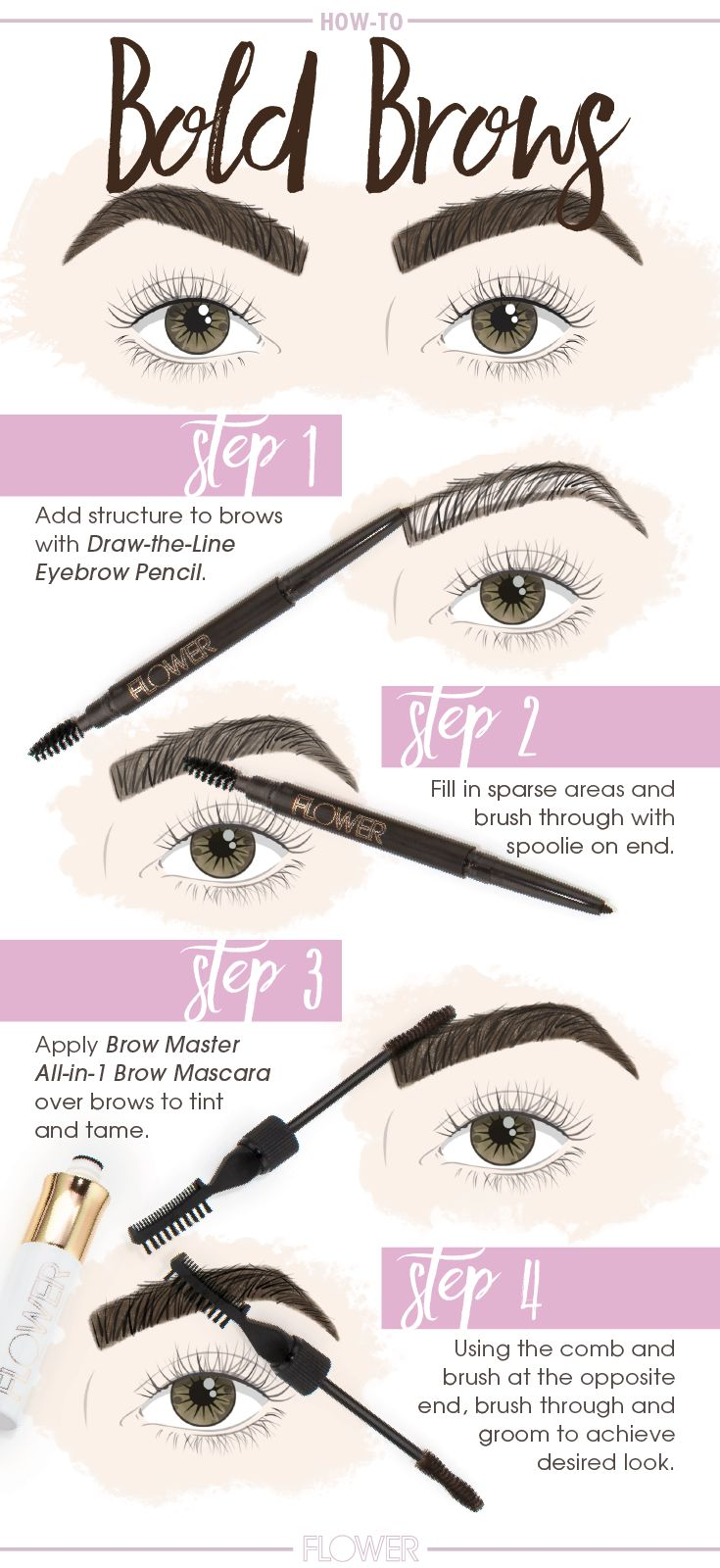 740cd65f1b7 Create bold dramatic eyebrows in four simple steps with #FLOWERBeauty Draw  the Line Eyebrow Pencil + Brow Master All-in-1 Brow Mascara.