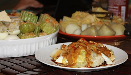 Siomay. Steam fish dumpling and vegetable with peanut sauce. The recipe of this food is available at http://diastu.wordpress.com/2013/06/21/siomay-steamed-fish-dumpling-with-vegetables/