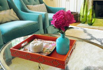 Gorgeous Lillian August turquoise chairs! Design by Room Service Interiors.