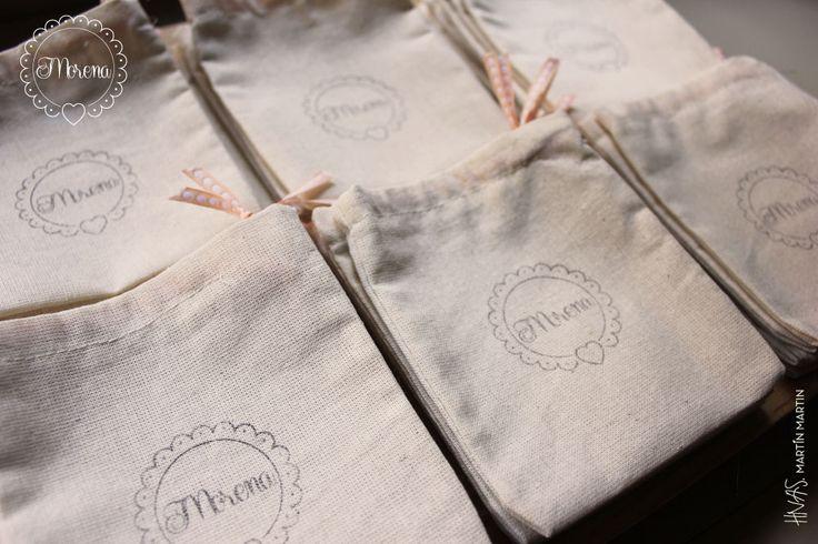 Bolsitas de Tela para souvenir + kit sello personalizado