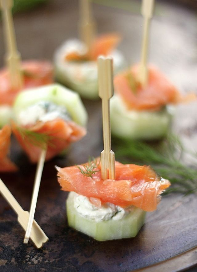 Smoked Salmon And Cream Cheese Cucumber Bites and other appetizers