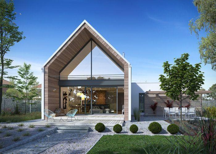 Z Pomysłem 3 - to nowoczesny dom z poddaszem użytkowym przykryty dachem dwuspadowym. Cechy: jednostanowiskowy garaż w bryle budynku, wejście od północy, otwarta kuchnia, spiżarnia (schowek), kominek, salon z jadalnią, efektowna pustka nad salonem, cztery sypialnie (pokoje), dwie łazienki. #domowy #domowypl #nowydom #dom #superdom #janydom #szklanaelewacja #duzeokno #rodzinnydom #nowoczesny #nowoczesnosc #nowinki