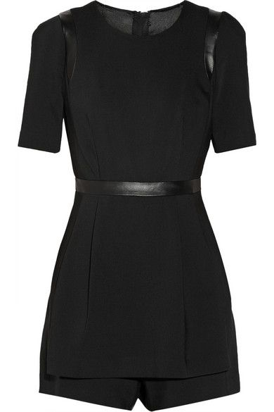 MILLY Leather-trimmed twill playsuit