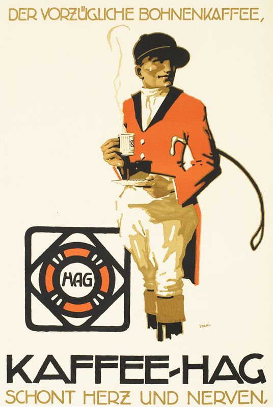 Kaffee - Hag (rider) by Stahl | Winter Sport - Heiden by Burger, Wilhelm Friedrich | Shop original vintage Plakatstil #posters online: www.internationalposter.com