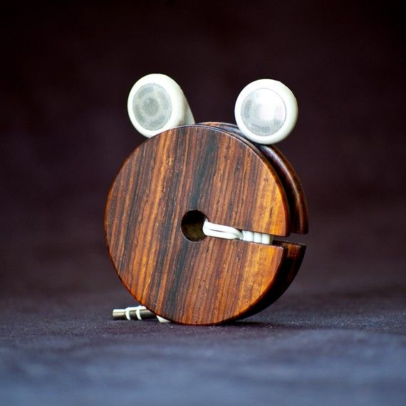Wood Earbud Holder / Earphone Organizer  by AcousticDesign on Etsy, $27.00