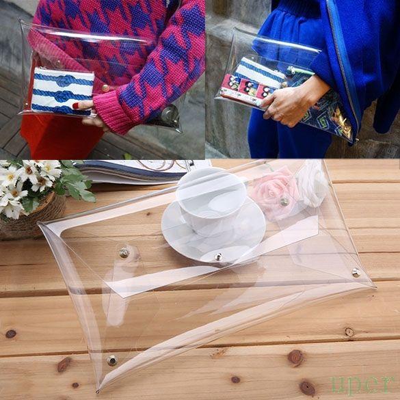 """Cheap 2015 nuevos calientes de la venta nuevas mujeres de hombre de embrague sobre transparente Clear Color del bolso, Compro Calidad Bolsos de Mano directamente de los surtidores de China:                                                            """"               100% a es"""