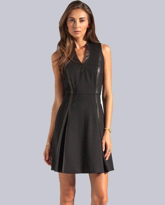 Rebecca Taylor Ponte Dress Leather trim.