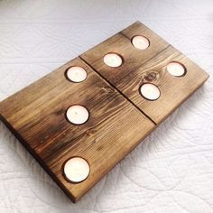 Reclaimed wooden domino T light candle holders
