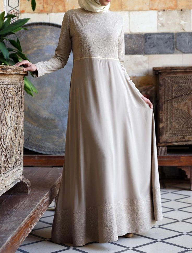 Sahara Embroidered Gown in Oxford Tan. Perfect understated look for Eid! shukronline.com