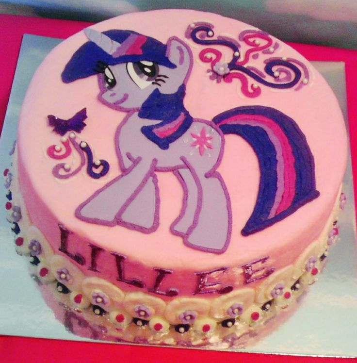 Twilight Sparkle - My Little Pony. Buttercream frosting, white cake, strawberry filling.