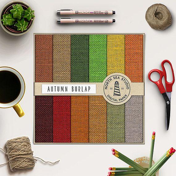 Autumn Burlap Digital Paper -  http://etsy.me/2cweliG Set of 12 autumn burlap scrapbook paper with canvas/linen texture.