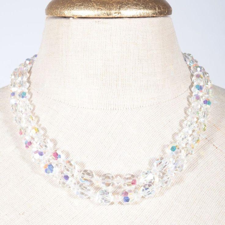 Alte Kristall Glas Perlen Kette facettiert Collier klar irisierend Strass 50er