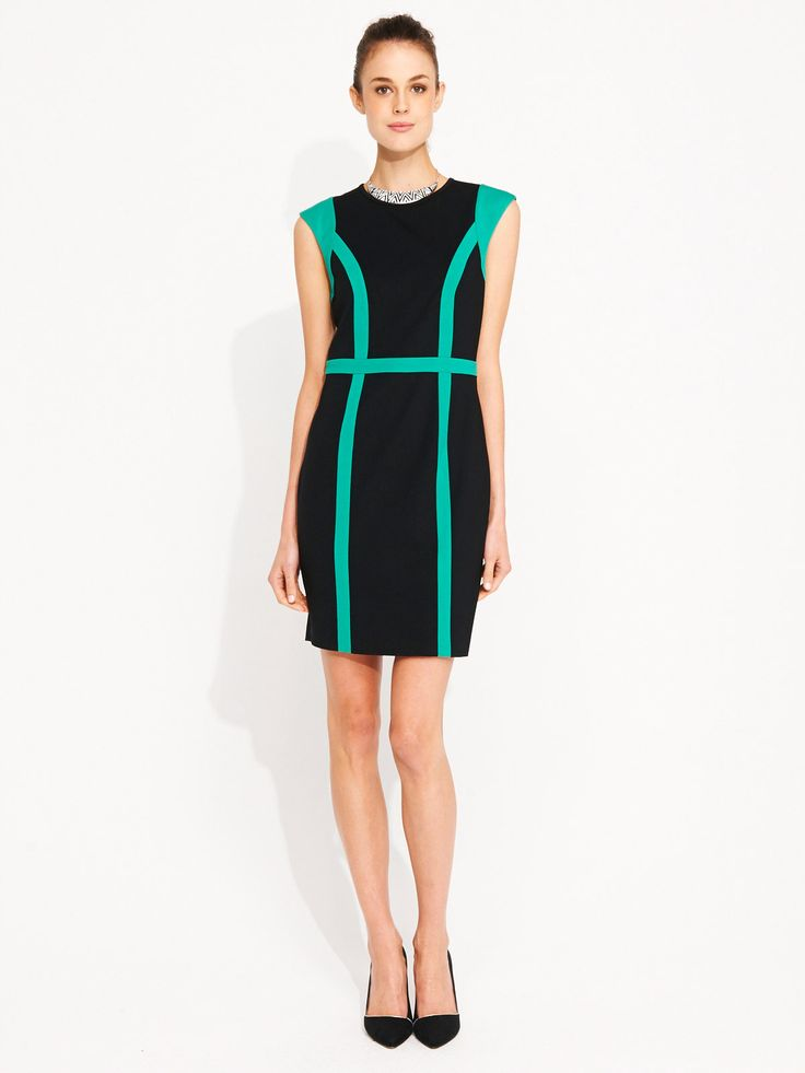 Portmans - ponte dress with contrasting panels