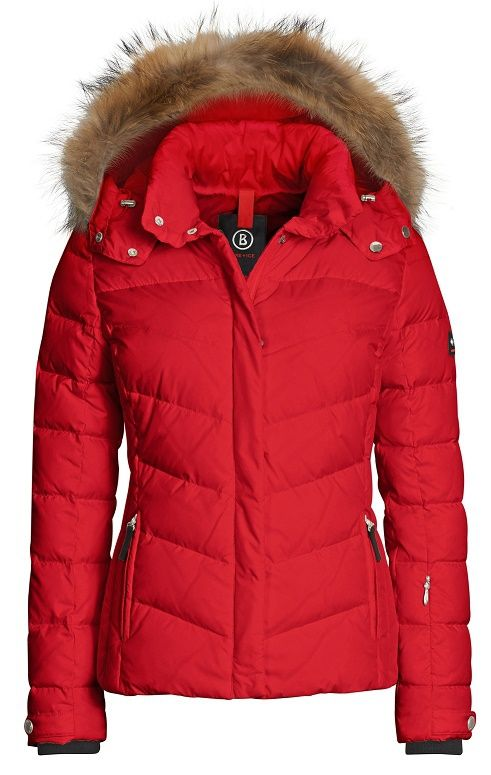 Free Shipping! Buy today!  The Women's Sally-D Ski Jacket by Fire and Ice is filled with warm down and available in Arctic Blue, Fire Red and Metallic Platinum.