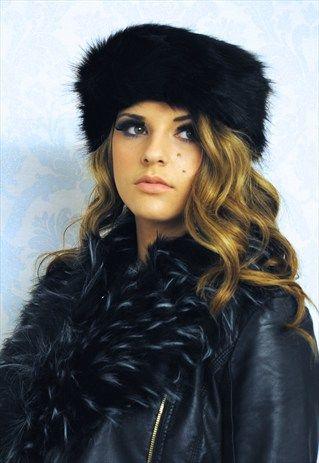 Alexia Luxury Black Faux Fur Headband