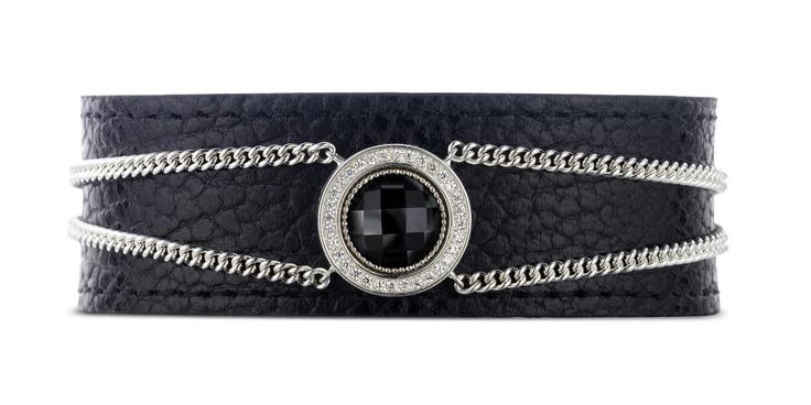 Spirit Icons -Bracelet  Silver, Black Onyx & Leather