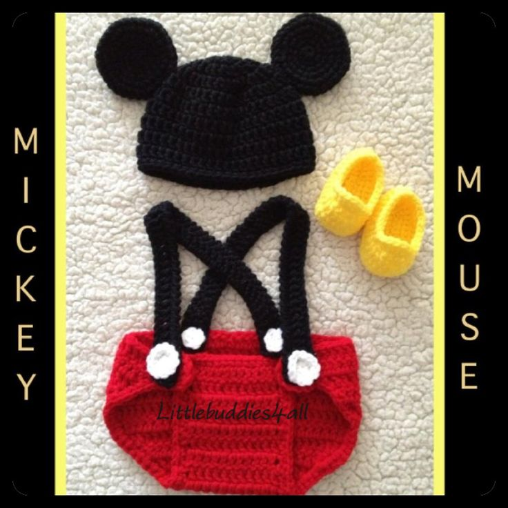 Free Crochet Pattern For Baby Minnie Mouse Outfit : Crocheted newborn Mickey Mouse 3 piece outfit. www ...
