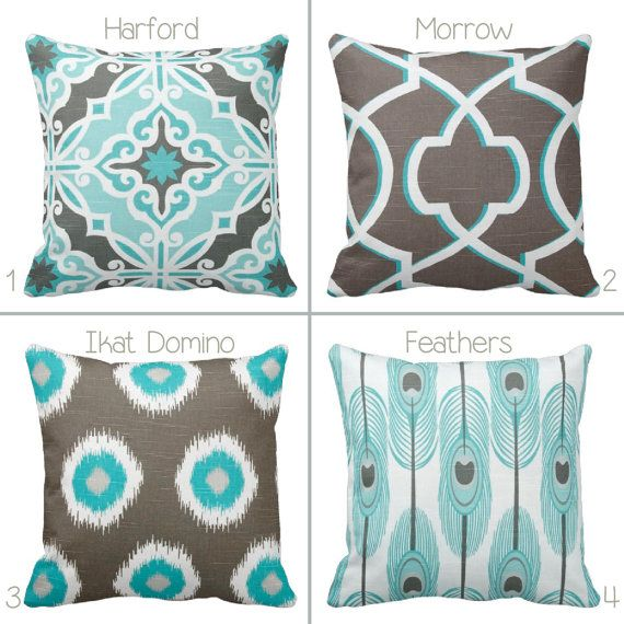 Grey Brown and Aqua Throw Pillow Cover by by PrimalVogueHomeDecor