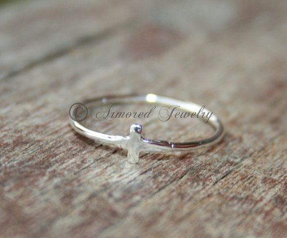 Simple Cross Ring - Sterling silver religious ring