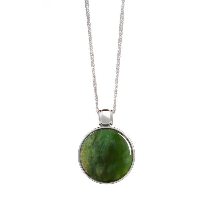 New Zealand Pounamu & Silver Necklace -  It has delicate koru patterns in silver on its' back