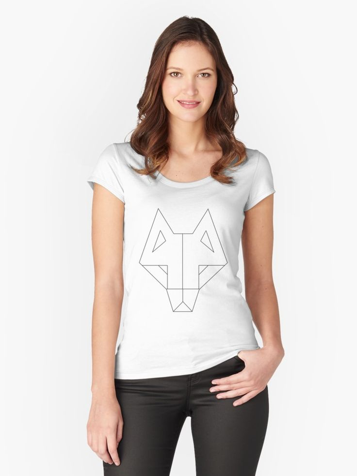 Tribal Wolf  by GeometricLove - Womens Fittwed Tshirt White and Black Wolf Power