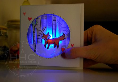 Everyone likes interactive cards, right? Well, this one was double the fun because not only is it a shaker card, but it also has a built in paper circuit with a LED light! OMG I LOVE IT SO! Our fri…