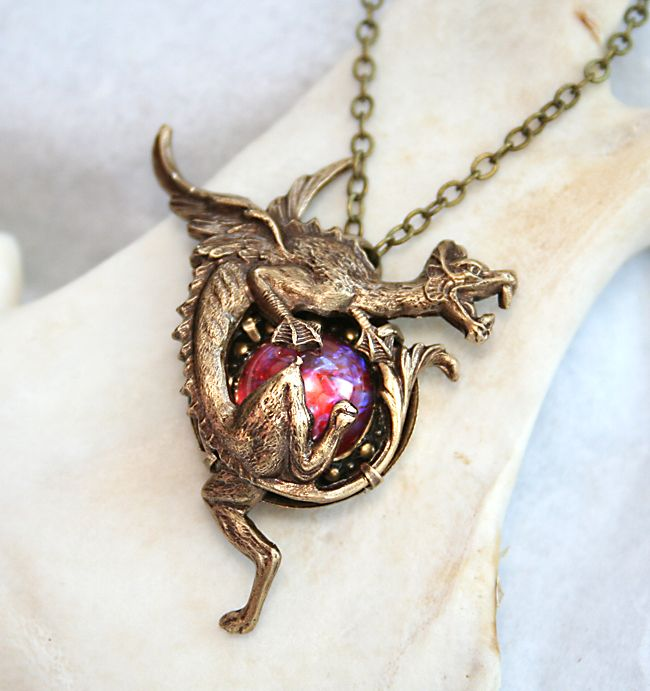 Dragon's Breath Opal Necklace by ~byrdldy on deviantART